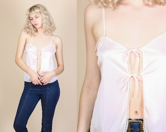 70s Pink Slip Top - Medium // Vintage Lace Camisole Tank