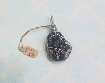 Black Obsidian Wire Wrapped Pendant