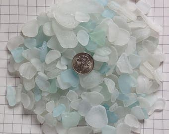 500gram- Craft Quality, Genuine Japanese Sea Glass, Sea Glass Bulk, Beach Glass, Home Decor, White, Light Blue (no.106)
