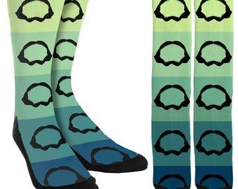 Shark Teeth Crew Socks - Shark Socks - Beach Socks - Crazy Socks - Fishing Socks - Novelty Socks - Unique Socks-Clothing - FREE Shipping A44