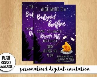Backyard Bonfire Birthday Invitation / Bonfire Birthday / Bonfire Party Invitation / Personalized / Custom / Printable