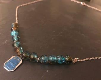 Aries Zodiac glass bead necklace