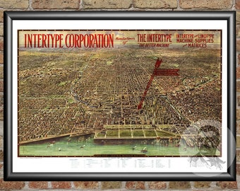 Chicago, Illinois Art Print From 1916 - Digitally Restored Old Chicago, IL Map Poster - Perfect For Fans Of Illinois History