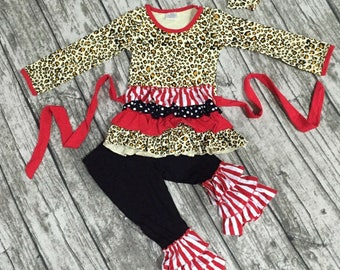 Boutique Leopard print, red & black