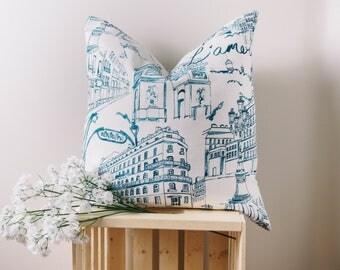 Blue Paris Pattern Pillow The Metropolitan Blue Pillow Decorative Pillow Covers Home Throw Pillow Home Decor Cushion 18 x 18 20 x 20