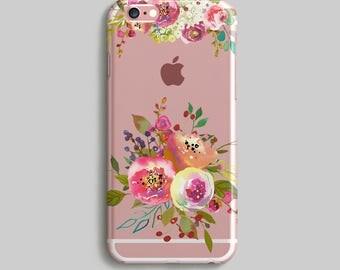 Flowers iPhone 5S Case, Watercolor Phone Case, Clear iPhone 7 Case, Silicone iPhone 6 Case, Rubber Phone Case, Transparent iPhone Case