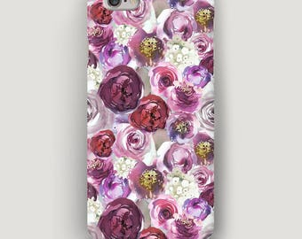 Watercolor iPhone 7 Case, Floral iPhone 6 Plus Case, Flower Pattern iPhone 5S Case, Gift for Mother, iPhone 5C Cover, Floral Case iPhone