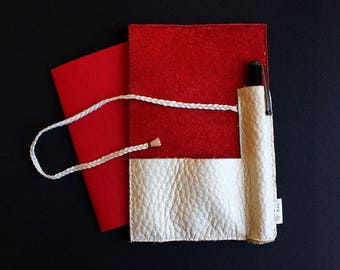 Pocket notebook A6 Red/White leather