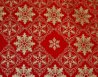 Gold Snowflake Red Christmas cotton