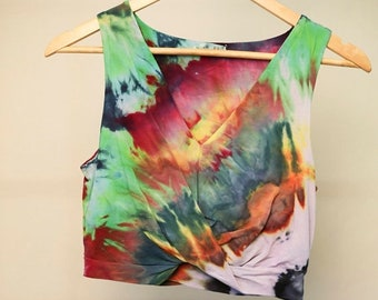 25% OFF ENTIRE SHOP Ladies Size M/12 Crop Top - V Neck Front - Beach - Festival - Ready To Ship - Tie Dyed - 100 Percent Cotton - Free Shipp