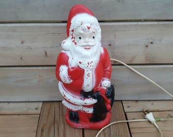 "Vintage 14"" Santa Blow Mold 1960s Christmas Retro Decor Toys Gifts Winter December Party Happy Holidays Holly Mistletoe North Pole"
