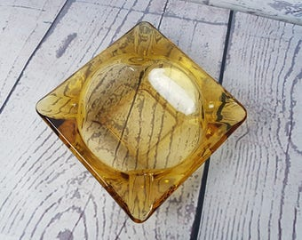 Vintage Square 70s Modern Mid Century Geometric Yellow Glass Ashtray Cigarette Smoking Break Ceramic Souvenir Collectible Pop Art Decor
