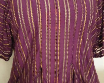 Sheer Purple Striped Fitted Shirt