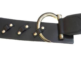 Vintage Petrol Red Label Petrol Industries women Handmade genuine leather belt gray 95 W5