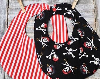 Pirate Bib, Pirate baby, Baby Shower Gift, Pirate theme, Red White Stripes, gift for her, Skull bib, Crossbones, Jolly Roger,pirate birthday