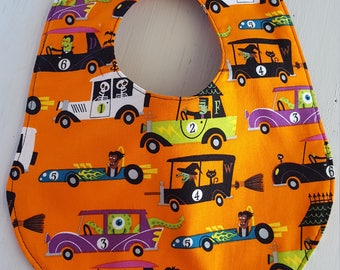Halloween Baby Bib, Fall theme, Halloween theme Gift, Baby Shower, baby Bib, Halloween baby shower gift,  Dracula, Witch,Frankenstein Fabric