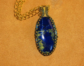 226 Square pattern blue and gold weave with wide bail lapis