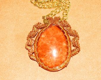 295 Ribbon weaved alt spike orange and gold Canadian orange calcite