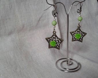 Star and Green Flower Earrings