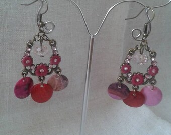 Earrings bronze and small pink flowers