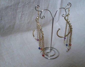 """Earrings """"cascade of chains and beads"""""""