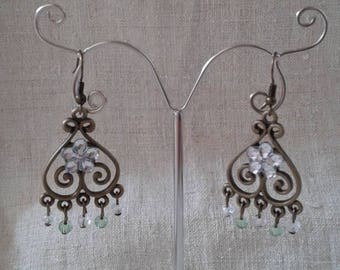 "Earrings ""bronze and rhinestone flower"""
