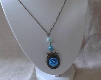 "necklace ""bronze bird and blue flower"""