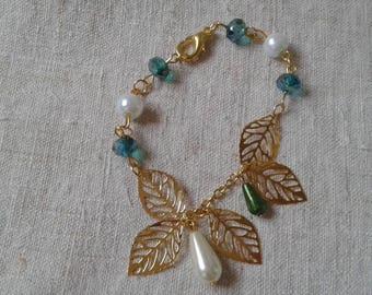 "Bracelet beads and ""golden leaves"""
