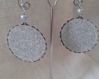"""big round shiny Silver"" earrings"