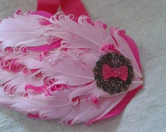 """headband """"Fuchsia and pink feathers decorated with a matching bow"""""""