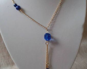 "stunning necklace ""gold and blue beads"""