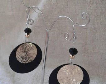"Earrings ""duo of gold and black"""