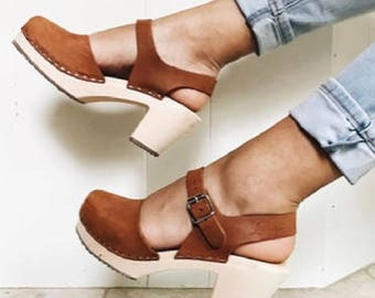 Swedish Clogs Highwood Brown Oiled Nubuck Leather by Lotta from Stockholm / Wooden Clogs / Summer Sandals / High Heel / Mary Jane Shoes /