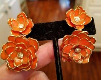 Beautiful Flower Clip on Earrings