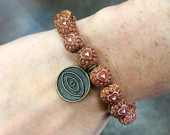 Amber Henna Heart Beaded Bracelet With Eye Charm