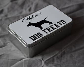 PET Lover Gift. Personalised English Bull Terrier Dog Treat Tin. Personalise With Your Pets Name