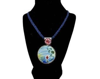 Lonely Blossom – Art on Glass Necklace – one size fits all