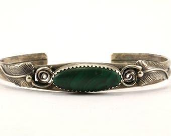 Navajo Native American Malachite Leaf Design Cuff Bracelet 925 Sterling BR 951-E