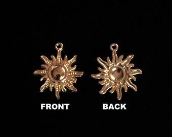 Radiant Sun 2 PIECE Charm Necklace Bracelet Sunburst Jewelry Charm DIY Jewelry Charm Gold Bronze Tone Sun Pendant