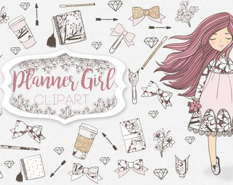 Planner Girl Clipart Glam Planner Clipart, Girl Clip art, Planner Girl, Fashion Illustration, Coffee, Gold, Rose Gold, Glitter, Planner