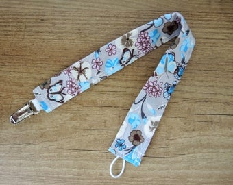 Pacifier clip gray flowers pink blue