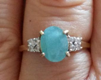 Natural Grandidirite and white sapphire ring in 9k gold UK size O