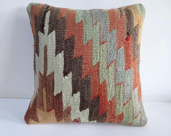 Turkish Pillow,18x18 inch 45x45 Cm Vintage Handmade Turkish Kilim Pillow Cases,Decorative Anatolian Kilim Rug Pillow,Bohemian Pillow Cover.