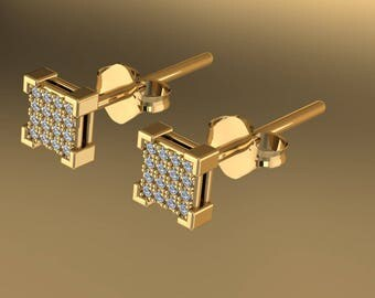 14K Yellow Gold Earring With  Diamonds A-ER1006