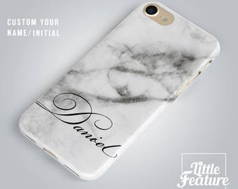 Custom Name Marble Phone case, personalised initial / iPhone 7 case, iPhone 7 Plus, 6 Plus, 6s, 6s+ case, cell phone cover, samsung case