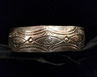 Vintage Fred Harvey Style Sterling Silver Tourist/Trading Post Cuff. Buffalo and Feather Design.