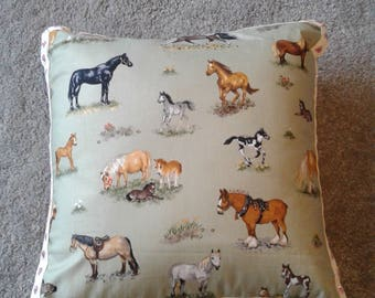 10 inch decorative cushion with horses and glitter ornate heart trim
