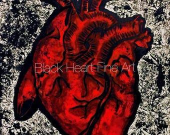 Anatomical Heart Original Oil Painting Print 8x10