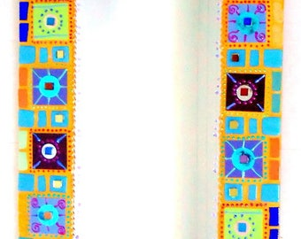 "mirror mosaic colors ""square and round"" 34 x 49 cm"