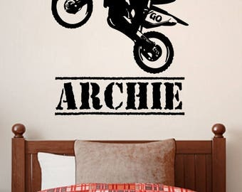 Personalized Name Decal - Motorbike / Motocross, Wall Decoration, Vinyl Print Stickers